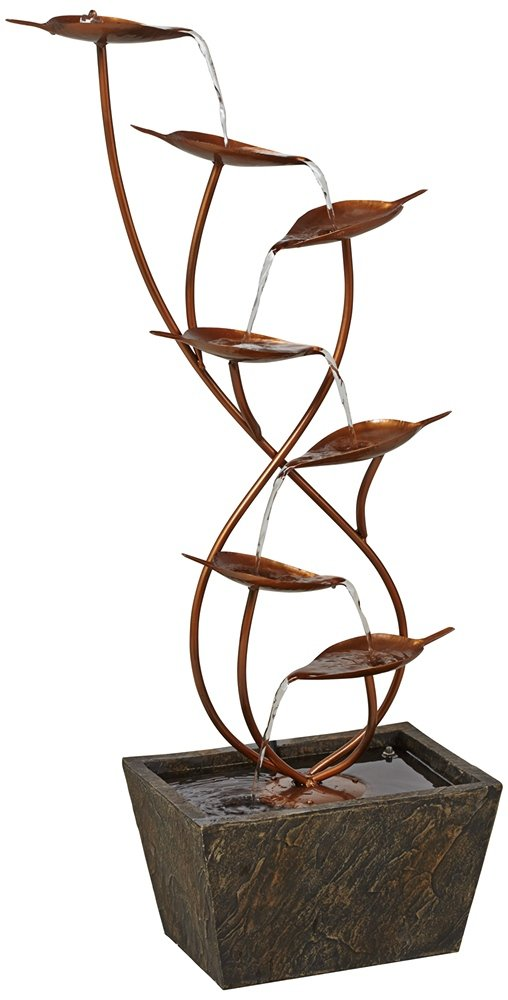 Ashton Curved Leaves 41'' High Copper Finish Floor Fountain