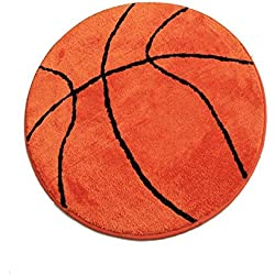 S-ssoy Area Rug Basketball Shape Mat Round Carpet Non-Slip Backing Kid's Sports Theme for Children Home Bedroom Kitchen Bathroom Hallway Doorway Nursery Living Room Floor Chair Rugs Decor (Dia 90cm)