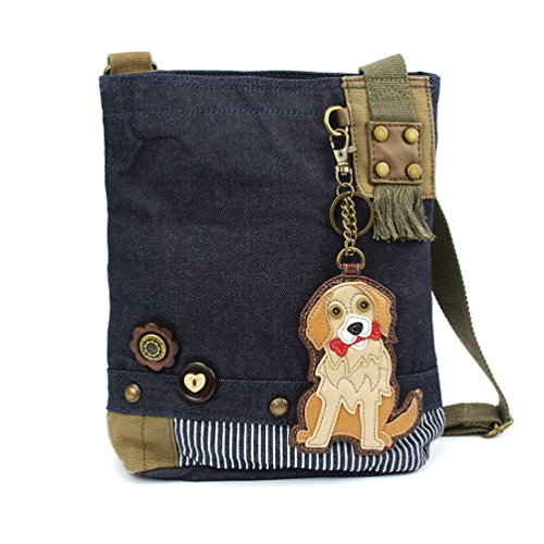 Denim Handbag Body Messenger Denim Blue Golden Patch Cross Canvas Retriever Women Chala Bag Blue BwqHYAfgx
