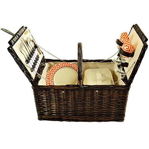 Picnic at Ascot Surrey Willow Picnic Basket, Brown Wicker Diamond Orange
