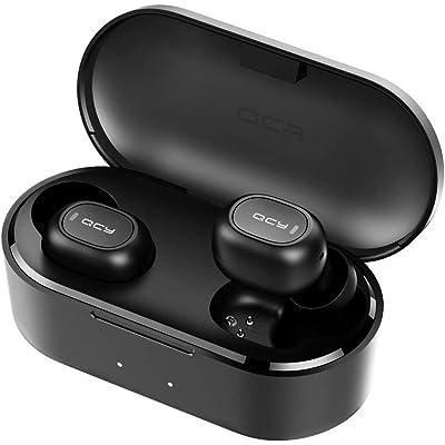 Auriculares Bluetooth con Micrófonos, HOMSCAM True Wireless Earbuds Impermeable Auriculares Inalámbricos Bluetooth 5.0 QCY HiFi Mini Twins Estéreo In-Ear Bluetooth con Caja de Carga Portátil