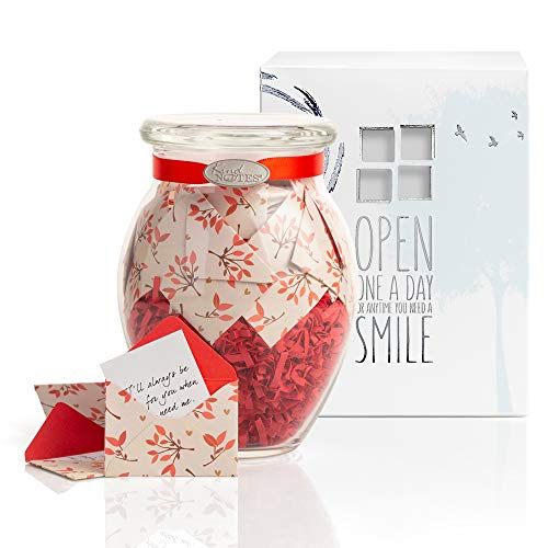 - KindNotes Glass Keepsake Gift Jar with Blank Papers to Write-Your-OWN Messages - Leaves of Love