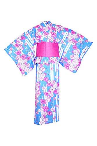 木製苦しめる控えめなmyKimono Women 's Traditional Japanese着物ローブ浴衣468 with Obi Belt & koshi-himoシンベルト/ブルー花パターン