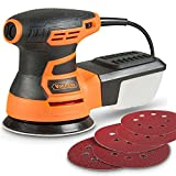 VonHaus Random Orbit Sander with 13000 RPM 6 Variable Speed and Dust Extractor System - Includes 5 Random Orbital Sander Pads