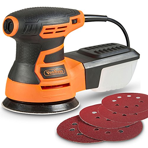 VonHaus Random Orbit Sander 350W - 6 Variable Speed with Soft Grip Handle, Orbital, Ergonomic Design & Dust Extraction System - 5x Sandpaper Pads - 200, 120 and 80 Grit Sanding Discs for Home DIY