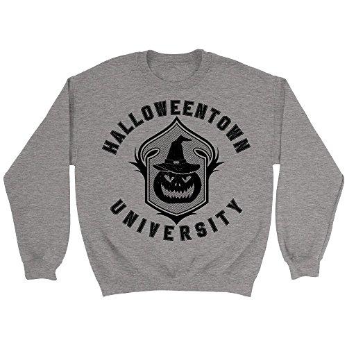 Teehub Halloweentown University Sweatshirt Funny Unisex Halloween Sweater (2XL, Sport Grey) ()