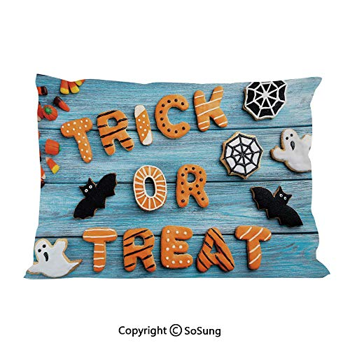 Halloween Bed Pillow Case/Shams Set of 2,Fresh Trick or Treat Gingerbread Cookies on Blue Wooden Table Spider Web Ghost Decorative King Size Without Insert (2 Pack Pillowcase 36