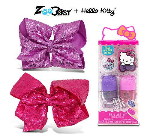 Warp Gadgets Bundle - Zoo Beast Giant Sparkly Lavender and Magenta Sequin Hair Bows on Alligator Clip with Hello Kitty Nail Polish Cosmetics Set for Kids (2 Items)
