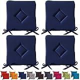4er Set gepolsterte Sitzkissen - Stuhlkissen - Gartenstuhlkissen - Rautenmuster - 40 x 40 x 3,5 cm - dunkelblau