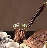The Turkish Emporium Ottoman Essential Copperware Turkish Coffee Pot Ibrik Cezve Wooden Handle
