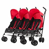 Obaby Mercury Triple Stroller - Black/Red