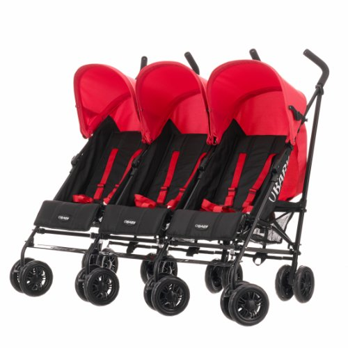 Obaby Mercury Triple Stroller - Black/Red by Globalbaby