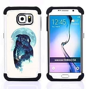 """Samsung Galaxy S6 / SM-G920 - 3 en 1 impreso colorido de Altas Prestaciones PC Funda chaqueta Negro cubierta gel silicona suave (Noctámbulo"""")"""