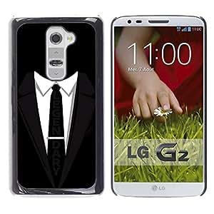 Caucho caso de Shell duro de la cubierta de accesorios de protección BY RAYDREAMMM - LG G2 D800 D802 D802TA D803 VS980 LS980 - Suit Tie Black Legendary Businessman Slogan