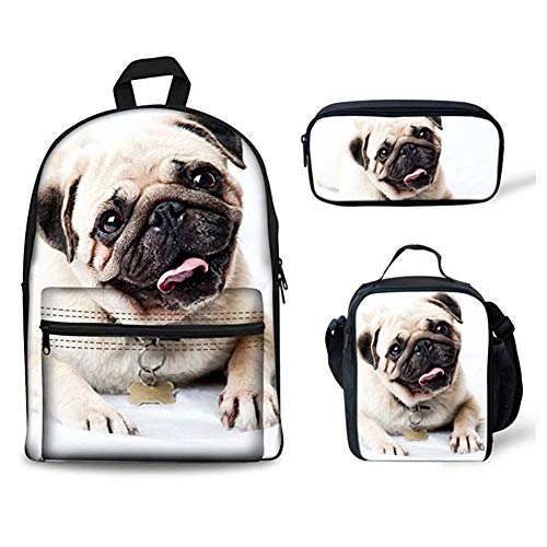 INSTANTARTS Canvas Bookbag Cute Pug Shoulder Backpack Set School Lunch Box Pencil Pouch