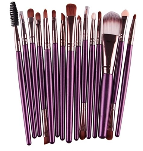 15 Piece Makeup Brushes Set Eyeshadow Eyeliner Eyelash Cosmetic Make Up Tool Foundation Natural Beauty Palette Excellent Popular Eyes Faced Colorful Rainbow Hair Highlights Glitter Travel Kit, Type-10 (Solution Control Pigment Kit)