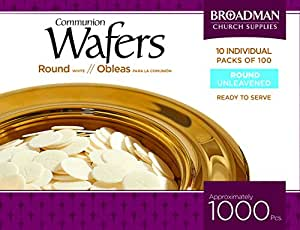 "Broadman Church Communion White Wafers - Cross Design (1 - 1/8"") - Box of 1000 (10 Individual Packs of 100 Lord's Supper Wafers)"