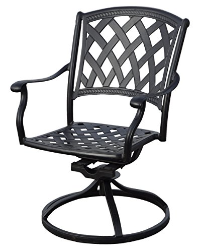 """Darlee 201630-7PC-30RE Cast Aluminum 7 Piece Rectangle Dining Set & Seat Cushions, 42"""" by 72"""", Antique Bronze - Weather-resilient hand made durable cast aluminum construction Powder-coated with elegant multi-step hand finish Sesame-colored seat cushion made of 100% polyester Chairs solid cast aluminum basket weave design seat, table includes removable umbrella hole cover, assembly required - patio-furniture, dining-sets-patio-funiture, patio - 5102mnXAYJL -"""