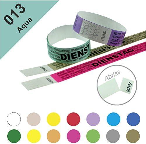 Einlassbänder, Kontrollbänder aus Tyvek – wasserfest, sicher, reißfest - 19mm, bedruckt, Motiv Dienstag (100 Stück Aqua)