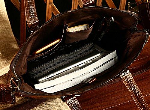 Heshe Vintage Leather Crocodile Men Handbags Messenger Briefcase Business Shoulder Bag Work Tote Fit Laptop (Dark Brown) by HESHE (Image #6)
