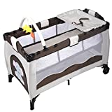 Brown Baby Crib Playpen Playard Pack Travel Infant Bassinet Bed Foldable