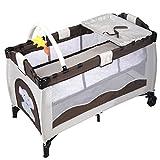 Brown Baby Crib Playpen Playard Pack Travel Infant Bassinet Bed Foldable
