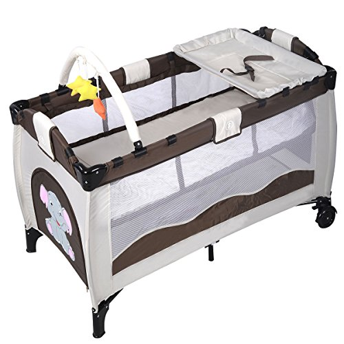 New Coffee Baby Crib Playpen Playard Pack Travel Infant Bassinet Bed Foldable + FREE E - Book by Eight24hours