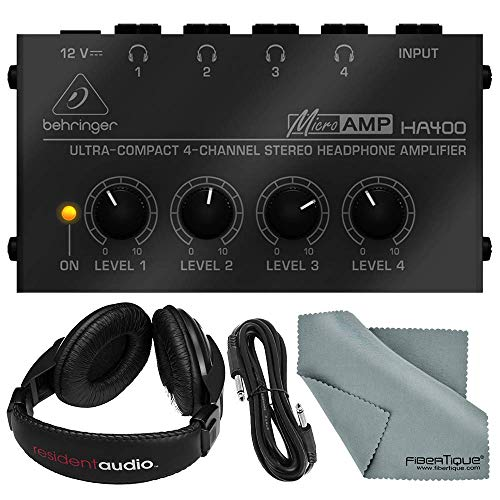 Behringer HA-400 Compact 4-Channel Stereo Headphone Amplifier and Accessory Bundle w/Stereo Headphones, Cable, Fibertique Cloth