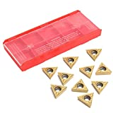 SODIAL 10Pcs Gold Tungsten Steel Inserts Blade TCMT 16T304 Cutter Turning Tool