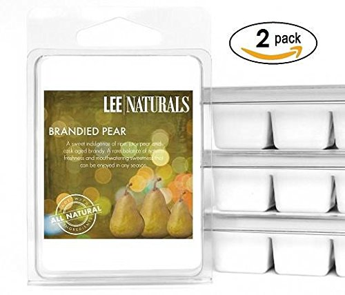 Lee Naturals Fall - (2 Pack) BRANDIED PEAR Premium All Natural 6-Piece Soy Wax Melts. Hand Poured Naturally Strong Scented Soy Wax Cubes ()