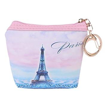 MENTIN Monedero con Zipper, Torre Eiffel Estampado Llavero portefeuilles para Mujeres y niñas