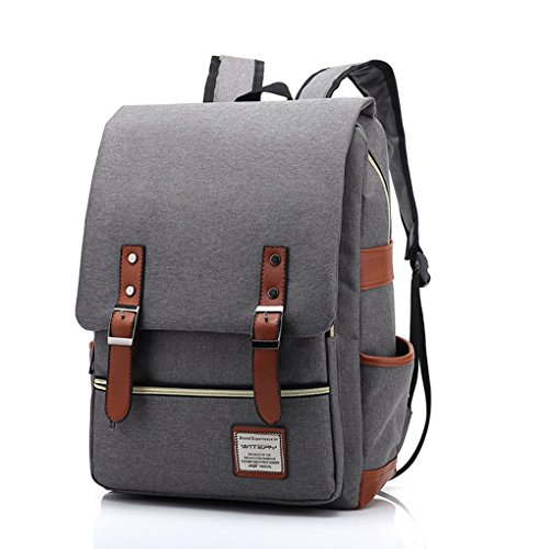 Leather Rolling Camera Bag (WITERY New Unisex Vintage Canvas Leather Travel Schoolbag / 15.6 Laptop Backpack Rucksack Daypack Light Gray)