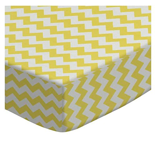 SheetWorld Fitted Cradle Sheet - Yellow Chevron Zigzag - Made In USA
