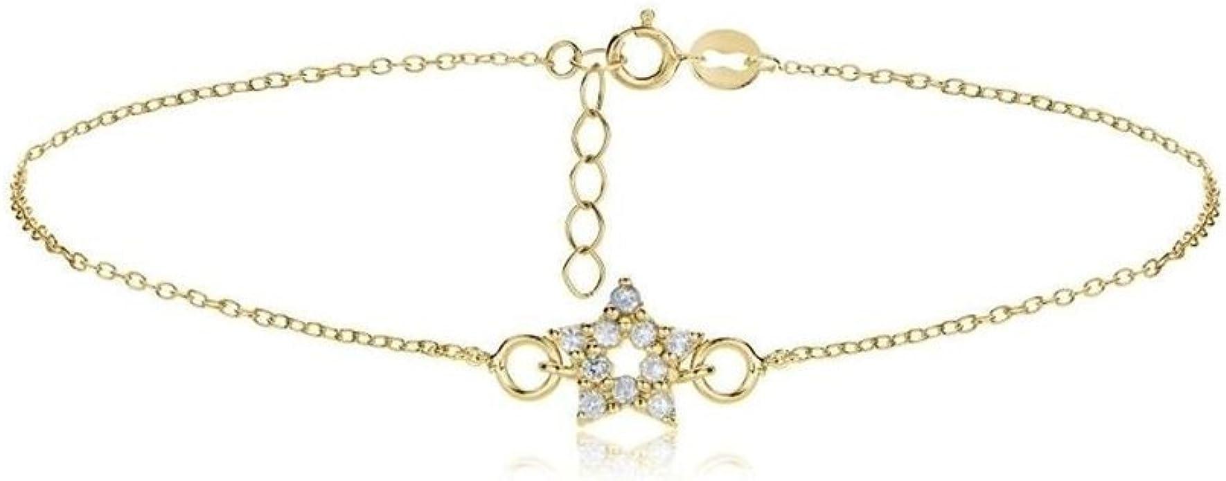 Glitzs Jewels Sterling Silver Cubic Zirconia Star Chain Anklet