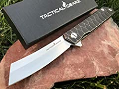 **TacticalGearz Tc4 Titanium Premium EDC Folding Knife! Ball Bearing System, High Quality CPM-D2 Steel, Classic Straight Razor. Knife is solid, smooth and built to last. Perfect size for EDC................ What is CPM- D2 Steel?...CPM-D2 ste...