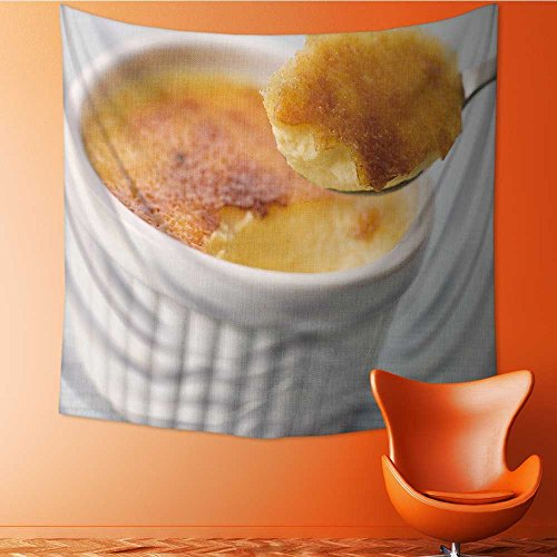 AuraiseHome Polyester Tapestry Wall Hanging Spoonful of Creme Brulee Wall Decor for Bedroom Living Room Dorm70W x 70L Inch Creme Brulee Wall Decor