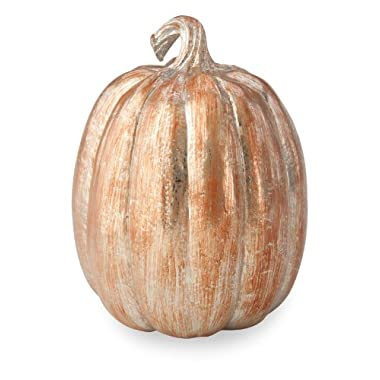 October Hill Metallic Patina Pumpkin of Mine Decoration, 5.25 by 10.25-Inch