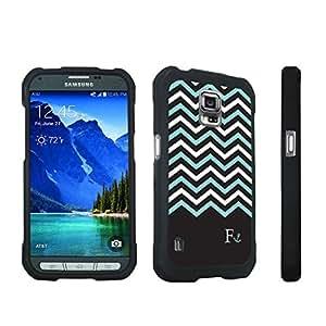 DuroCase ? Samsung Galaxy S5 Active SM-G870A Stylish Hard Case Black - (Black Mint White Chevron F)