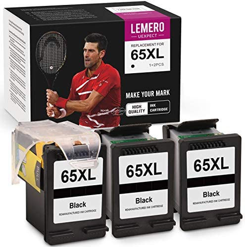 LemeroUexpect Remanufactured Ink Cartridge Replacement for HP 65XL 65 XL for Envy 5055 5052 DeskJet 2622 2652 3755 3720 3752 2655 3722 2624 3723 3721 Printer (1 Print Head, 3 Black Ink Cartridges)