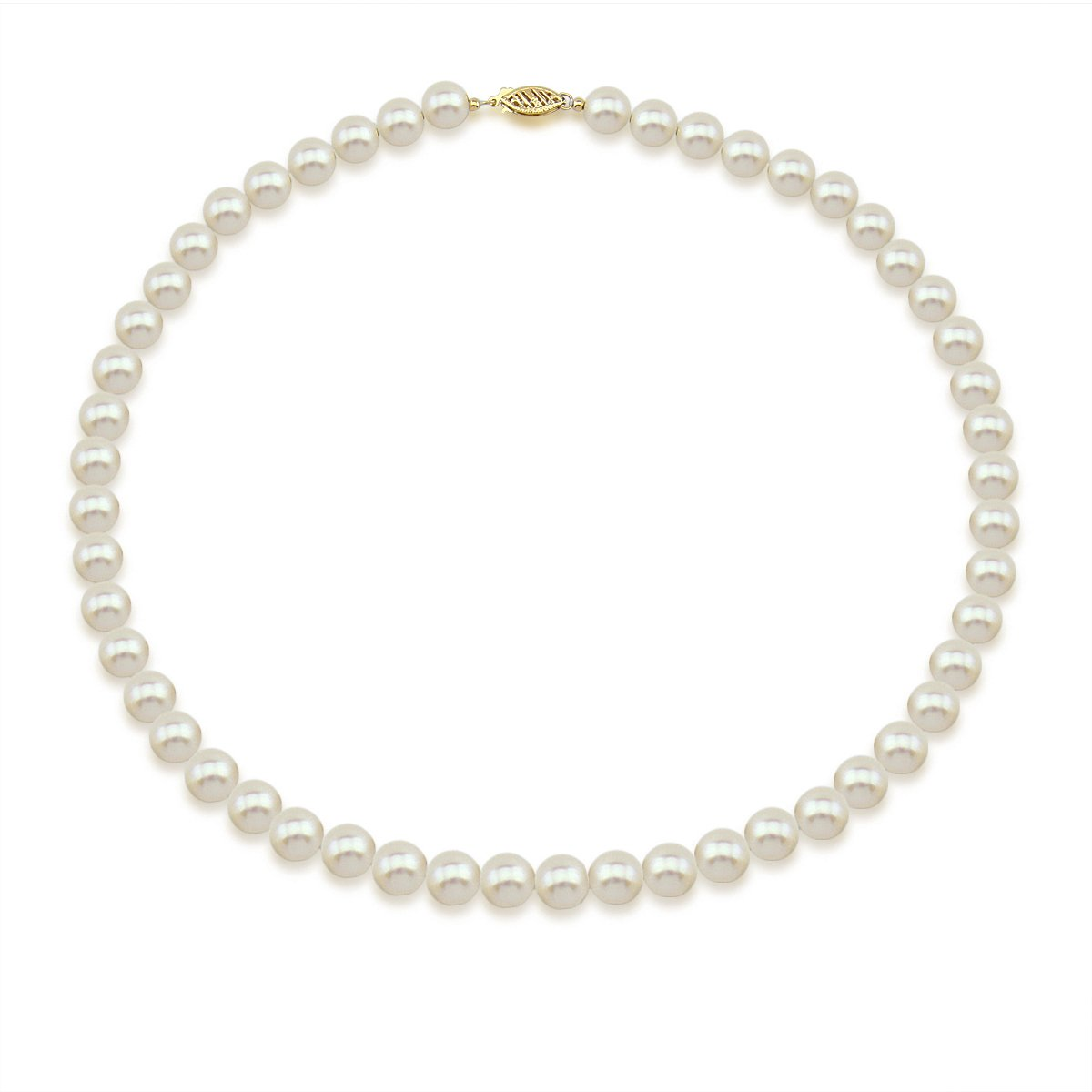 14K Yellow Gold 7.5-8.0mm High Luster White Freshwater Cultured Pearl Necklace, 22 Inch by Akwaya