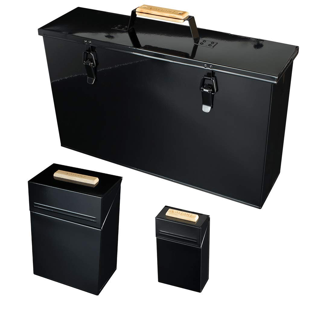 Valiant 4-Piece Fireside High Gloss Metal Storage Set Black