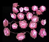 20 LED Battery Operated Rose Flower Fairy Lights Wedding Garden Party Christmas Decoration String Lights ,pink