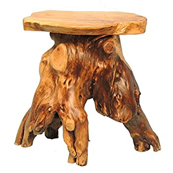 WELLAND Cedar Root Wood Log Side Table, End Table, Rustic Primitive Natural Live Edge