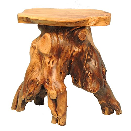 - WELLAND Cedar Root Wood Log Side Table, End Table, Rustic Primitive Natural Live Edge