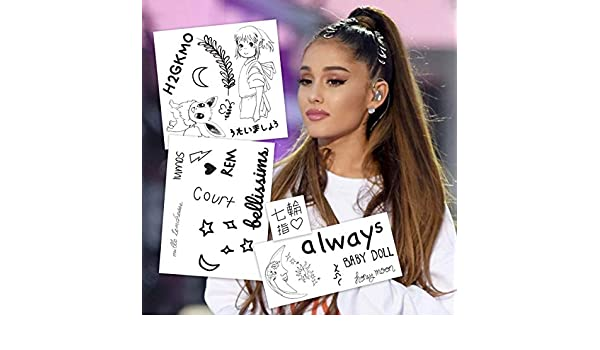 Ariana Grande Temporary Tattoos | Skin Safe | Removable: Amazon.es ...