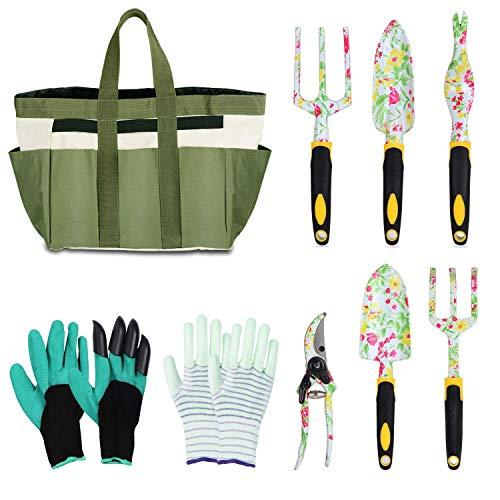 LOYLOV Garden Tool Set Floral Print 9 Piece Aluminum Gardening Tools with 2 Gardening Gloves, Garden Tote, Hand Pruner, Garden Trowel, Hand Rake, Weeder, Fork, Transplanter, Gardening Gifts for Women (Best Gardening Tools)