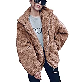 Women's Fashion Long Sleeve Lapel  Shaggy Oversized Coat Jacket