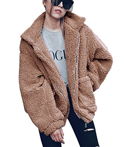 PRETTYGARDEN Women's Fashion Long Sleeve Lapel Zip Up Faux Shearling Shaggy Oversized Coat Jacket with Pockets Warm Winter (Khaki, X-Large)