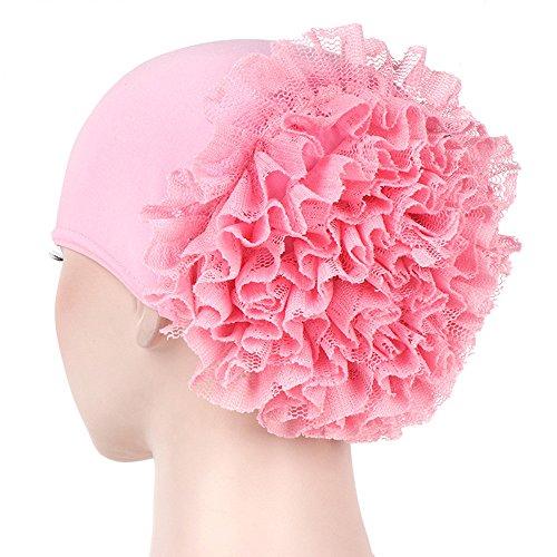 CHIDY Women Floral India Hat Muslim Ruffle Pure Color Trend Anti-Hair Loss Cap Beanie Scarf Turban Wrap Cap