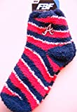 Atlanta Braves Adult Medium (M) Women's Size 6-11 Red, White and Blue Cutoff Socks with Embroidered Logo A